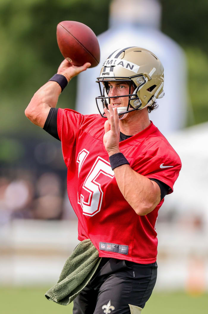 Trevor Siemian at the Saints training camp