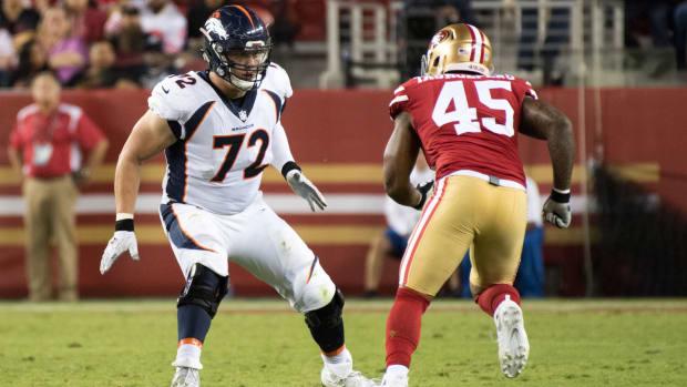 Denver Broncos tackle Garett Bolles (72) blocks against San Francisco 49ers linebacker Pita Taumoepenu (45) during the second quarter at Levi's Stadium. The Broncos defeated the 49ers 33-14.