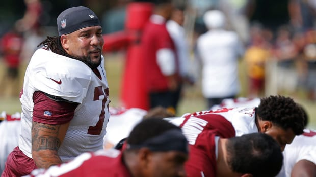 Donald Penn stands above the crowd in the Redskins training camp battle for the left tackle spot.