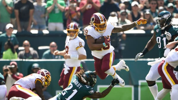 Derrius Guice - Ronald Darby - © James Lang-USA TODAY Sports