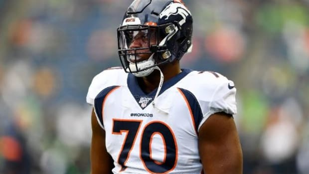 Ja'Wuan James #70 of the Denver Broncos warms up before the preseason game against the Seattle Seahawks at CenturyLink Field on August 08, 2019 in Seattle, Washington.