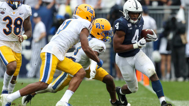 Sep 14, 2019; University Park, PA, USA; Penn State Nittany Lions running back Journey Brown (4) runs the ball against the Pittsburgh Panthers during the third quarter at Beaver Stadium. Credit: Matthew O'Haren-USA TODAY Sports