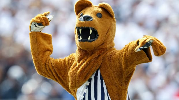 Sep 14, 2019; University Park, PA, USA; The Penn State Nittany Lions mascot entertains during the fourth quarter against the Pittsburgh Panthers at Beaver Stadium. Penn State defeated Pittsburgh 17-10.