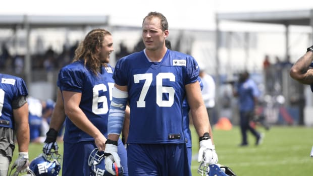 Aug 7, 2018; East Rutherford, NJ, USA; New York Giants tackle Nate Solder (76) during training camp.