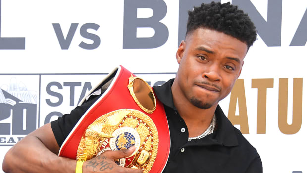 Boxer Errol Spence Jr. weighs in before his fight against Shawn Porter