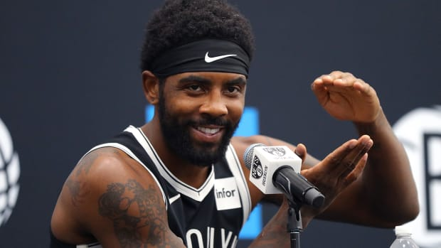 Kyrie Irving speaks at Nets media day.