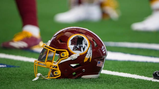 Nov 22, 2018; Arlington, TX, USA; A view of a Washington Redskins helmet and logo before the game between the Dallas Cowboys and Washington Redskins at AT&T Stadium.