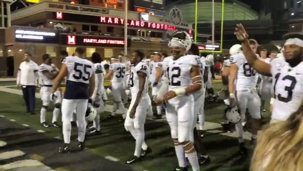 Penn State celebrates football celebrates with fans following win over Maryland