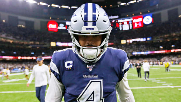 NEW ORLEANS, LOUISIANA - SEPTEMBER 29: Dak Prescott #4 of the Dallas Cowboys reacts after losing a game against the New Orleans Saints at the Mercedes Benz Superdome on September 29, 2019 in New Orleans, Louisiana. (Photo by Jonathan Bachman/Getty Images)