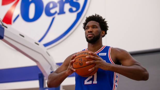Joel Embiid at Sixers' practice facility