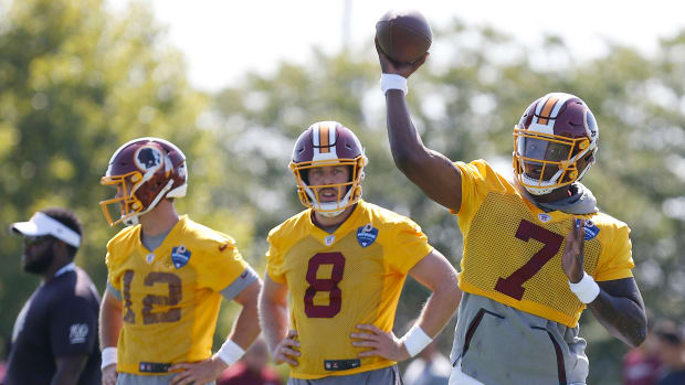 Colt McCoy - Case Keenum - Dwayne Haskins - © Geoff Burke-USA TODAY Sports