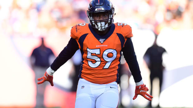 Denver Broncos linebacker Malik Reed (59) reacts to his sack in the fourth quarter against the Jacksonville Jaguars at Empower Field at Mile High.