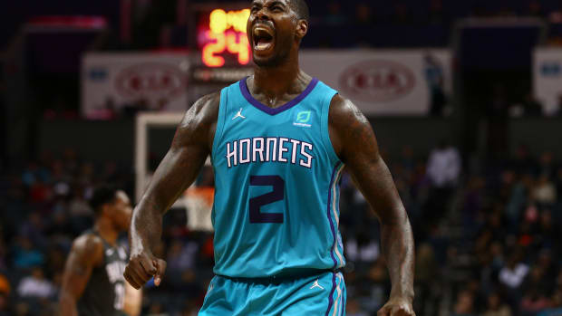 Charlotte Hornets forward Marvin Williams (2) reacts in the second half against the Brooklyn Nets at Spectrum Center. (Jeremy Brevard-USA TODAY Sports)