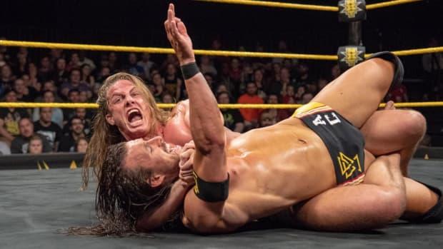 NXT's Matt Riddle and Adam Cole wrestle in the ring