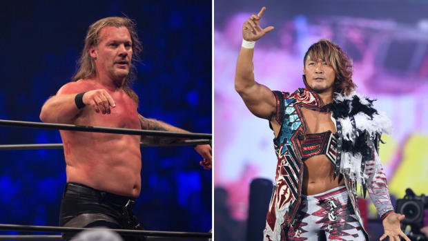 Split image of Chris Jericho and Hiroshi Tanahashi
