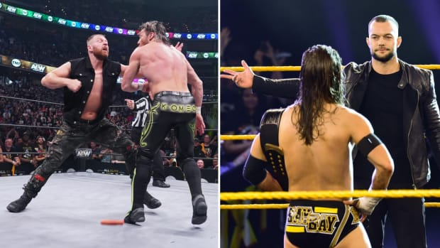 Split image of AEW and NXT's debut episodes