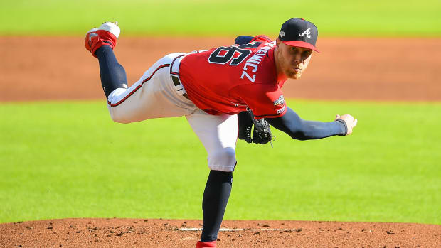 ATLANTA, GA OCTOBER 04: Atlanta Braves starting pitcher Mike Foltynewicz (26) throws a pitch during the National League Division Series game 2 between the St. Louis Cardinals and the Atlanta Braves on October 4th, 2019 at SunTrust Park in Atlanta, GA. (Photo by Rich von Biberstein/Icon Sportswire via Getty Images)