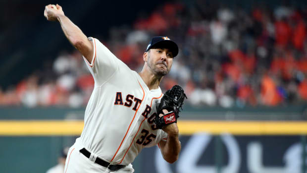HOUSTON, TX - OCTOBER 04: Justin Verlander #35 of the Houston Astros pitches during the ALDS Game 1 between the Tampa Bay Rays and the Houston Astros at Minute Maid Park on Friday, October 4, 2019 in Houston, Texas. (Photo by Cooper Neill/MLB Photos via Getty Images)
