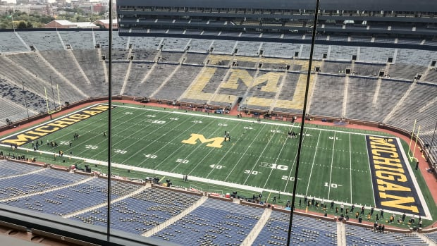 Michigan Stadium about two hours before kickoff against Iowa.