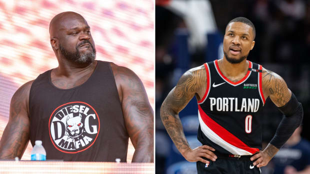 Split image of Shaquille O'Neal and Damian Lillard
