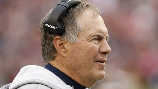 Oct 6, 2019; Landover, MD, USA; New England Patriots head coach Bill Belichick reacts from the sidelines against the Washington Redskins in the fourth quarter at FedExField.
