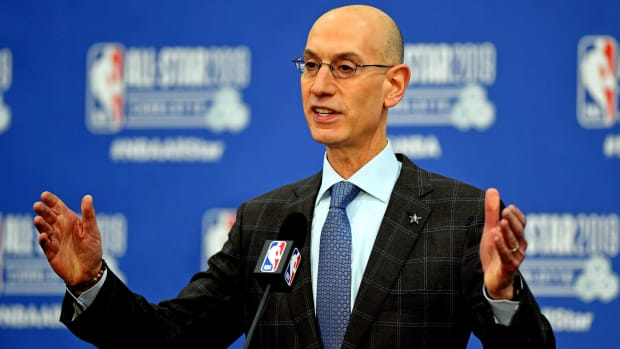 Adam Silver speaks to the NBA media.