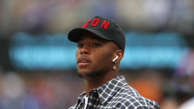 Oct 6, 2019; East Rutherford, NJ, USA; New York Giants running back Saquon Barkley on the sidelines during warm up before the game against the Minnesota Vikings at MetLife Stadium.