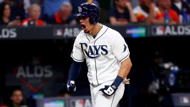 Oct 8, 2019; St. Petersburg, FL, USA; Tampa Bay Rays shortstop Willy Adames (1) celebrates his home run during the fourth inning in game four of the 2019 ALDS playoff baseball series against the Houston Astros at Tropicana Field. Mandatory Credit: Kim Klement-USA TODAY Sports