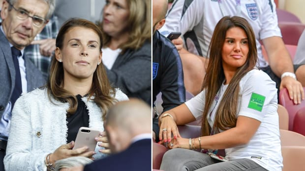 Split image of Colleen Rooney, wife of Wayne, and Rebekah Vardy, wife of Jamie.