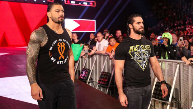 WWE's Roman Reigns and Seth Rollins on the ramp on Raw.