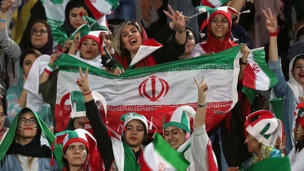 Iranian women attend a soccer match in Tehran