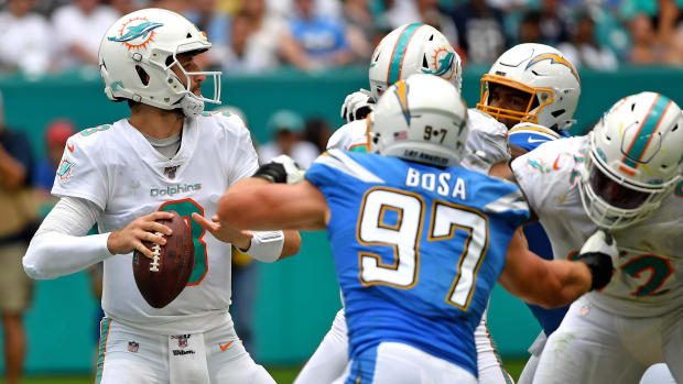 Sep 29, 2019; Miami Gardens, FL, USA; Miami Dolphins quarterback Josh Rosen (3) throws a pass against the Los Angeles Chargers during the first half at Hard Rock Stadium. Mandatory Credit: Steve Mitchell-USA TODAY Sports