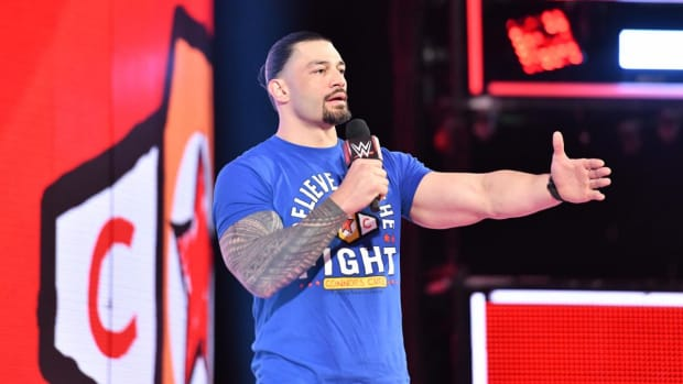 WWE's Roman Reigns on stage during Raw