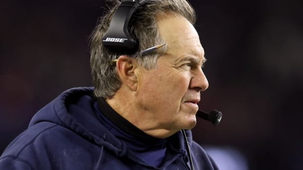 Oct 10, 2019; Foxborough, MA, USA; New England Patriots head coach Bill Belichick watches a play against the New York Giants during the first half at Gillette Stadium.