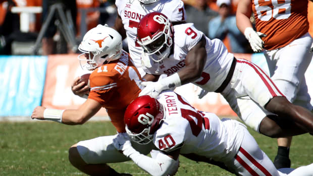 Texas football Sam Ehlinger vs Oklahoma defense