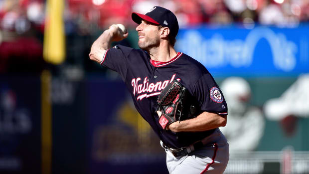 Oct 12, 2019; St. Louis, MO, USA; Washington Nationals starting pitcher Max Scherzer (31) throws against the St. Louis Cardinals during the first inning in game two of the 2019 NLCS playoff baseball series at Busch Stadium. Mandatory Credit: Jeff Curry-USA TODAY Sports