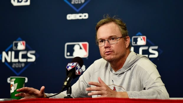 Oct 10, 2019; St. Louis, MO, USA; St. Louis Cardinals manager Mike Shildt (8) talks with the media during practice day prior to game one of the 2019 NLCS playoff baseball series against the Washington Nationals at Busch Stadium. Mandatory Credit: Jeff Curry-USA TODAY Sports
