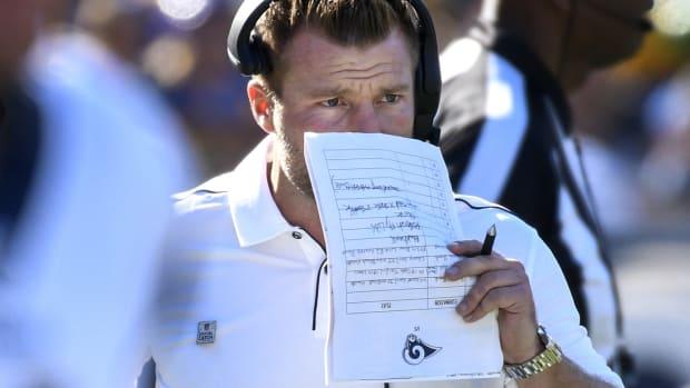 Los Angeles Rams head coach Sean McVay during the third quarter against the San Francisco 49ers at Los Angeles Memorial Coliseum.