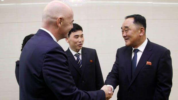 FIFA president Gianni Infantino in North Korea