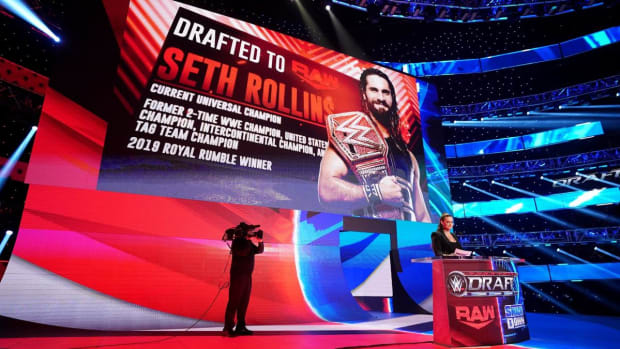 Stephanie McMahon announces a draft pick on WWE Raw