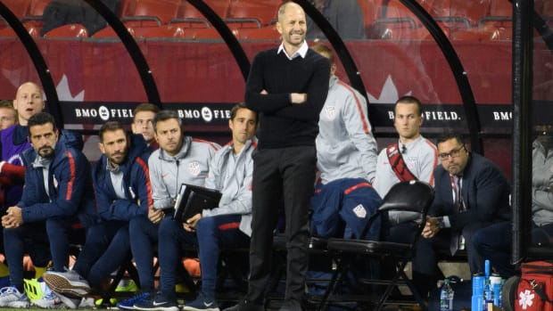 Gregg Berhalter watches the USA lose to Canada