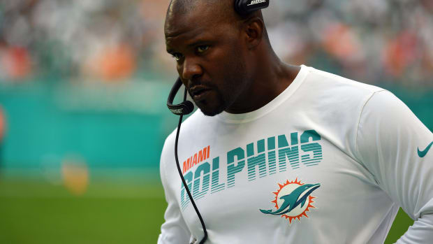 Sep 29, 2019; Miami Gardens, FL, USA; Miami Dolphins head coach Brian Flores looks on against the Los Angeles Chargers during the first half at Hard Rock Stadium. Mandatory Credit: Steve Mitchell-USA TODAY Sports