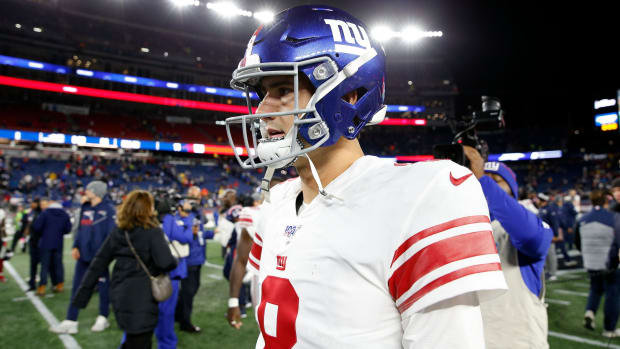 Oct 10, 2019; Foxborough, MA, USA; New York Giants quarterback Daniel Jones (8) walks off of the field after a loss to the New England Patriots. during the second half at Gillette Stadium.