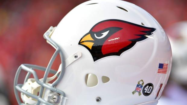 Nov 11, 2018; Kansas City, MO, USA; A general view of a Arizona Cardinals helmet during the game against the Kansas City Chiefs at Arrowhead Stadium. The Chiefs won 26-14.