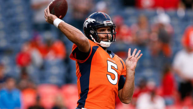 Denver Broncos quarterback Joe Flacco (5) warms up before the game against the Kansas City Chiefs at Empower Field at Mile High.