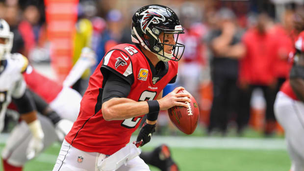 Falcons quarterback Matt Ryan rushes against the Los Angeles Rams.