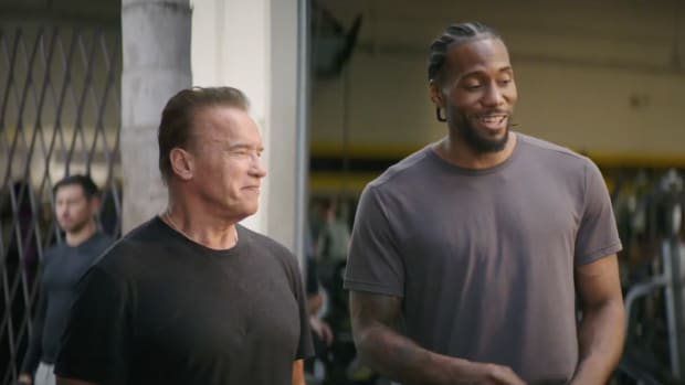 Kawhi Leonard and Arnold Schwarzenegger chat in a Terminator commercial