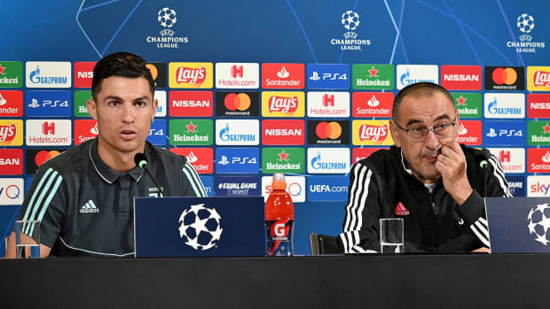 Juventus's Cristiano Ronaldo and Maurizio Sarri