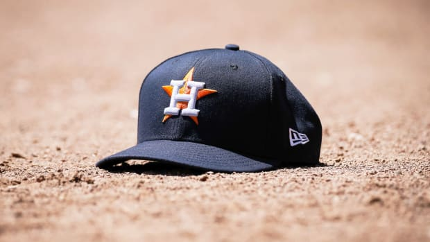 Apr 21, 2019; Arlington, TX, USA; A Houston Astros cap during a game against the Texas Rangers at Globe Life Park in Arlington. Mandatory Credit: Ray Carlin-USA TODAY Sports