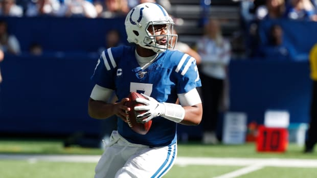 Indianapolis Colts quarterback Jacoby Brissett, shown looking to throw in Sunday's 30-23 home win over Houston, was named AFC Offensive Player of the Week on Wednesday.